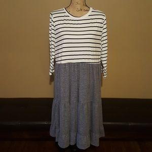 Reborn J Blue Tiered Babydoll Stripe Midi Dress 1X